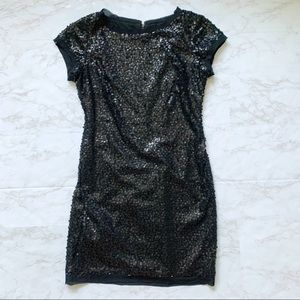 Vince Camuto Black Sequin Short Sleeve Shift Dress